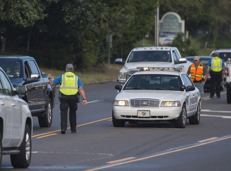 Punto policial cerca de Wrightsville beach, North Carolina.
