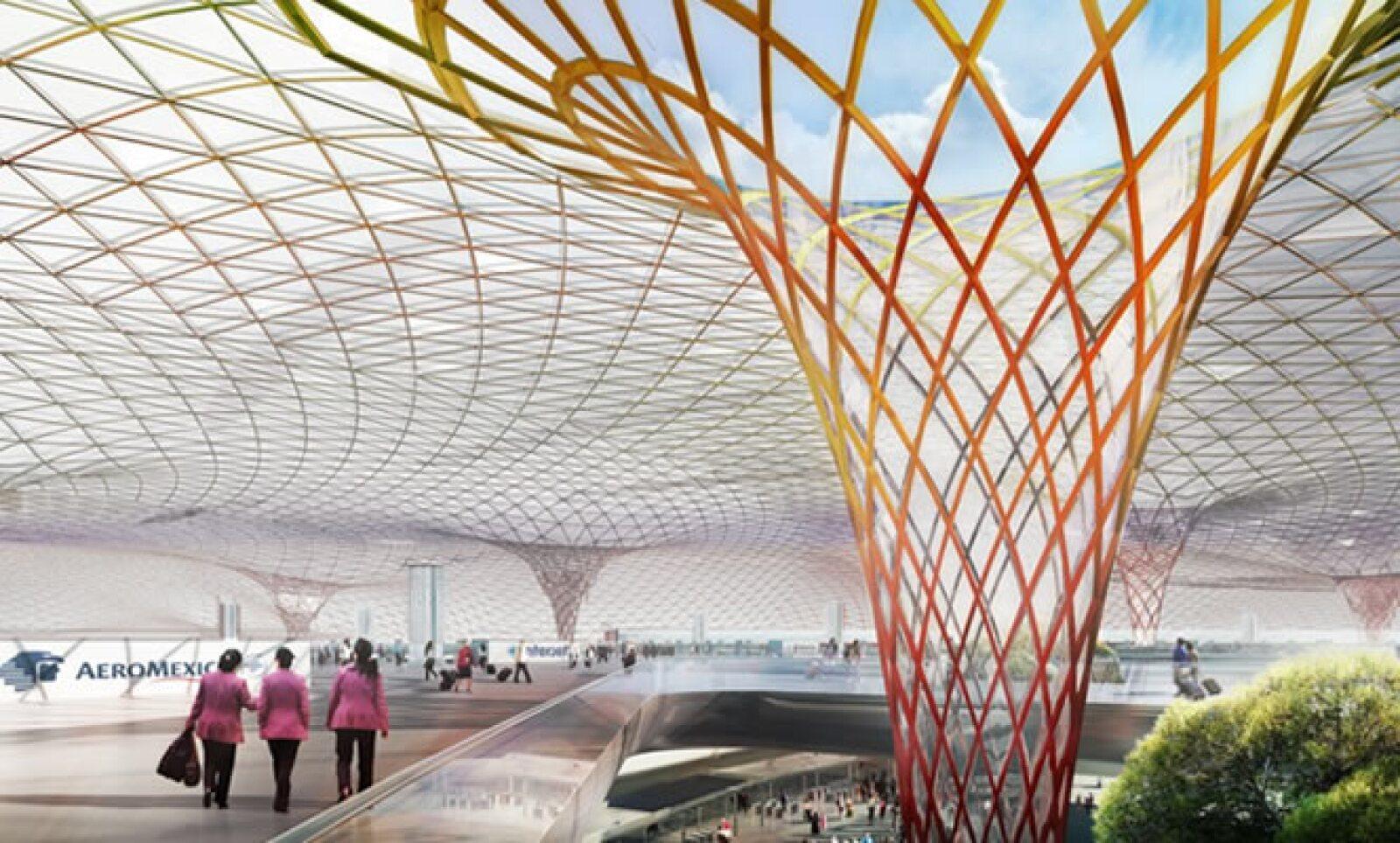 El aeropuerto no tendrá un techo convencional, ni paredes verticales y tampoco columnas normales, según uno de sus diseñadores, Norman Foster.