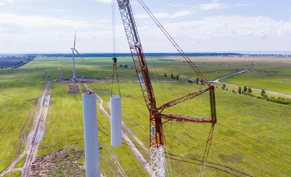 Parque eólico en construcción