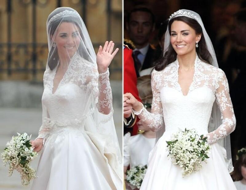 Kate eb su vestido de novia de la diseñadora Sarah Burton de la casa Alexander McQueen.