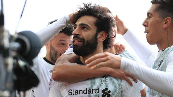 Mohamed Salah festeja con el Liverpool