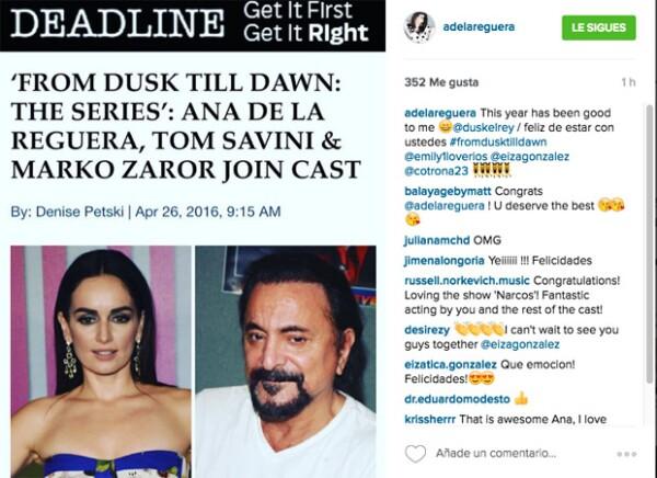 La actriz dio a conocer la noticia a través de su cuenta de Instagram.
