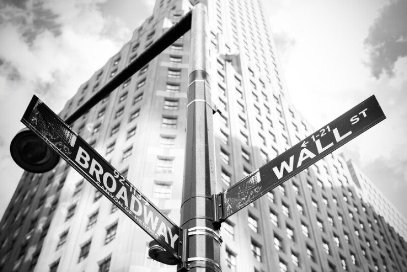 Wall Street and Broadway sign in Manhattan, New York.