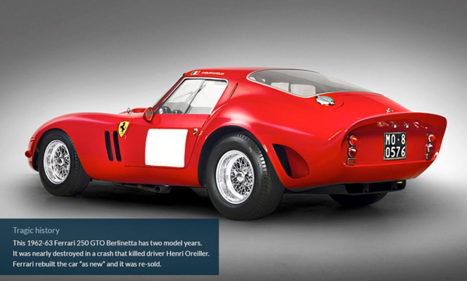 4.Este Ferrari 250 GTO Berlinetta fue casi destruido en un choque que mató a su conductor Henri Oreiller. Ferrari reconstruyó el auto y luego lo revendió.