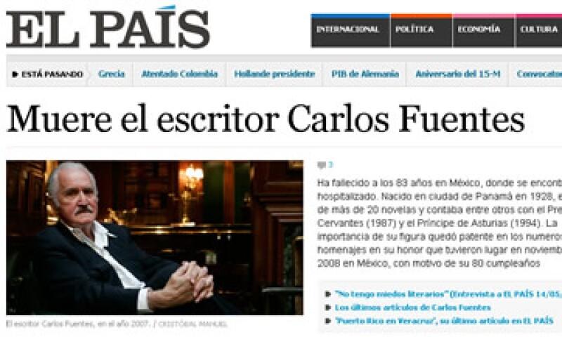 La muerte del escritor mexicano apareció en varios medios alrededor del mundo. (Foto tomada del sitio ElPais.com)