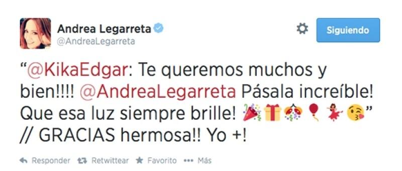 La cantante Kika Edgar le escribió este lindo mensaje.