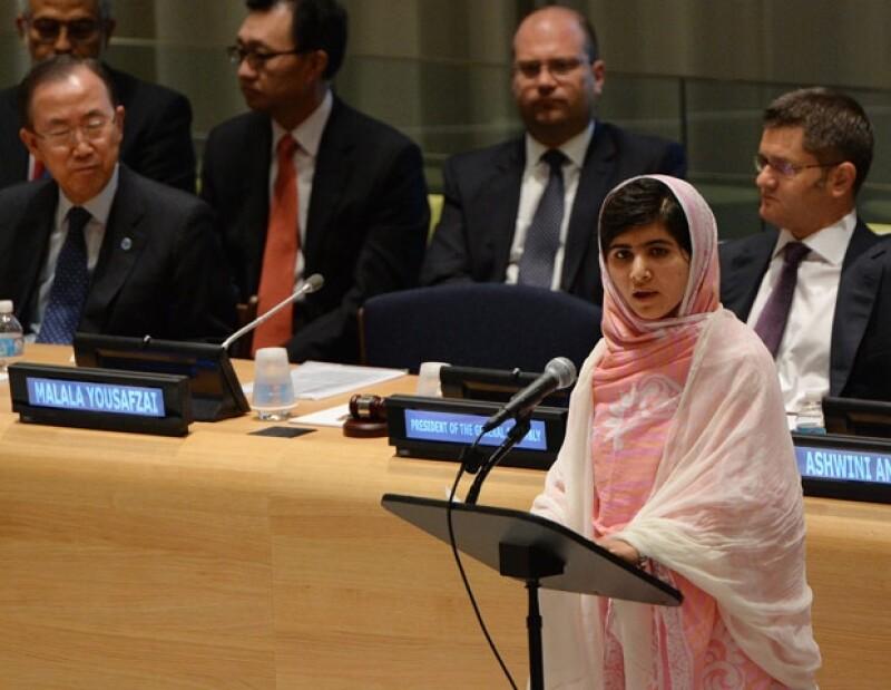 Malala durante su discurso en la ONU en 2013.