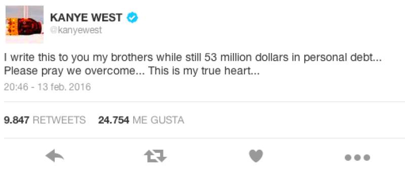 Kanye confesó en Twitter su deuda.