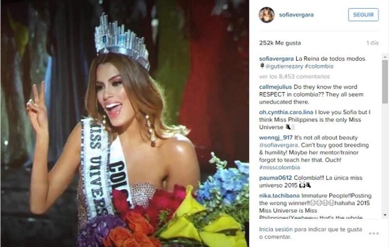 Con esta publicación, Sofía mostró su apoyo a Miss Colombia, con quien además de ser compatriota, tienen un parecido increíble.