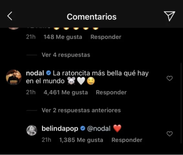 Mensajes de Christian Nodal a Belinda en Instagram