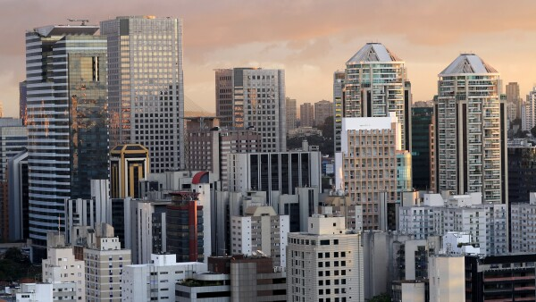 Building the city of Sao Paulo, South America Brazil