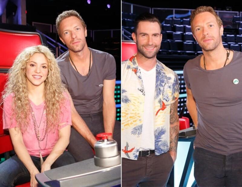 El cantante posó con los coaches del reality, Sakira y Adam Levine.