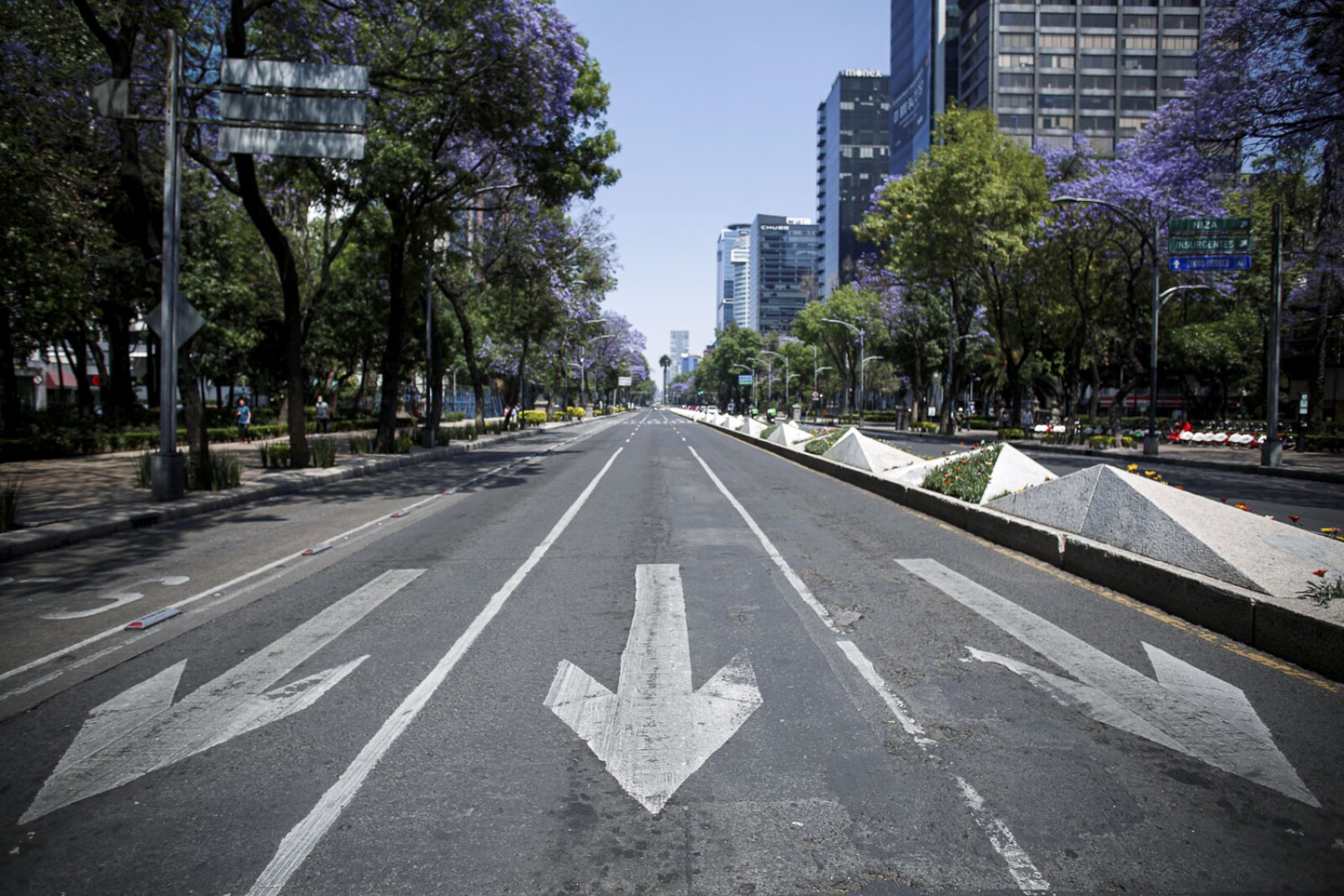 An empty road is pictured as the coronavirus disease (COVID-19) outbreak continues, in Mexico City