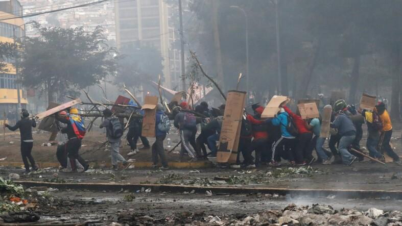 Protests against Ecuador's President Moreno's austerity measures in Quito