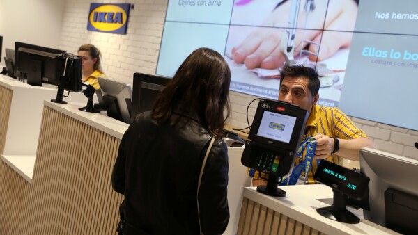 A customer shops at an IKEA store in Madrid