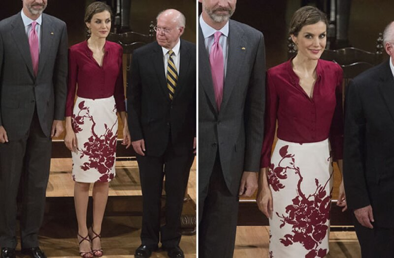 Lady in Red! Letizia en un look nunca antes visto de Felipe Varela.