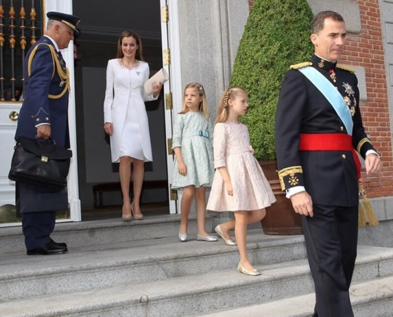 La familia real antes de partir hacia el Congreso de los Diputados.