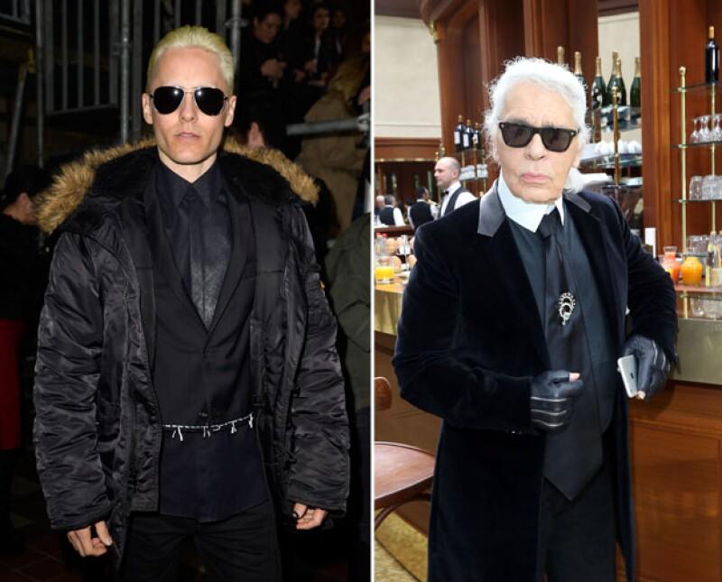 Jared Leto parece haber imitado el estilo de Karl Lagerfeld.