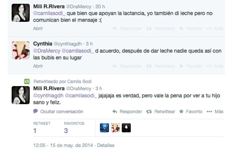 Camila replicó el mensaje de la usuaria @DraMercy que resaltaba la importancia de lactar.