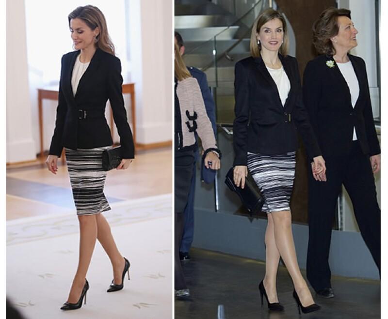 Letizia Ortiz en diciembre 2014 llevó por primera vez la falda de Hugo Boss. Hace apenas algunos días la volvió a usar.