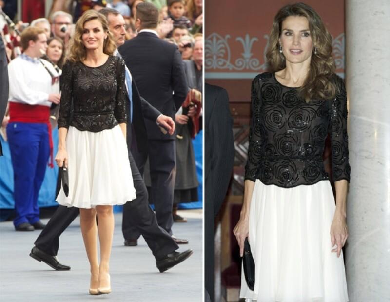 La princesa de Asturias curiosamente ha repetido diseños de Felipe Varela los cuales realza con accesorios. La primera foto corresponde a 2012, la segunda en noviembre de este año.