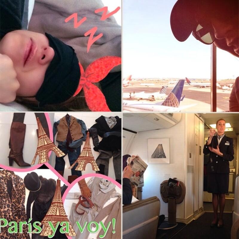 Thalía compartió inágenes desde el vuelo.