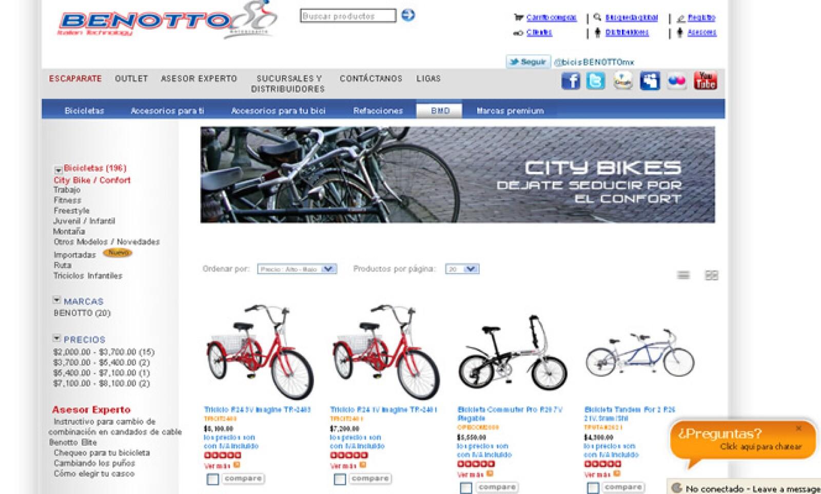 A través de su sitio web, Benotto transformó sus ventas de bicicletas y accesorios.