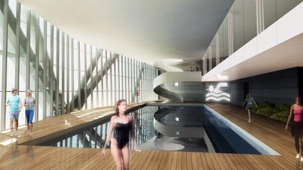 Los primeros cuatro pisos tendrán un gimnasio con alberca.