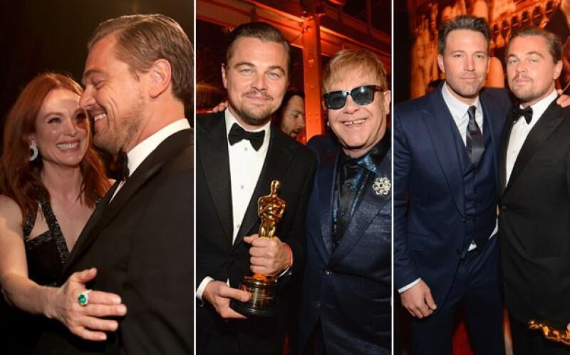 En la after-party de los Oscar, Leonardo recibió más muestras de cariño de celebs como Julianne Moore Ben Affleck y Elton John