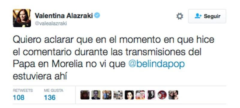 De acuerdo con la periodista, la cantante no tuvo nada que ver con que el Papa se molestara durante su visita a Morelia.