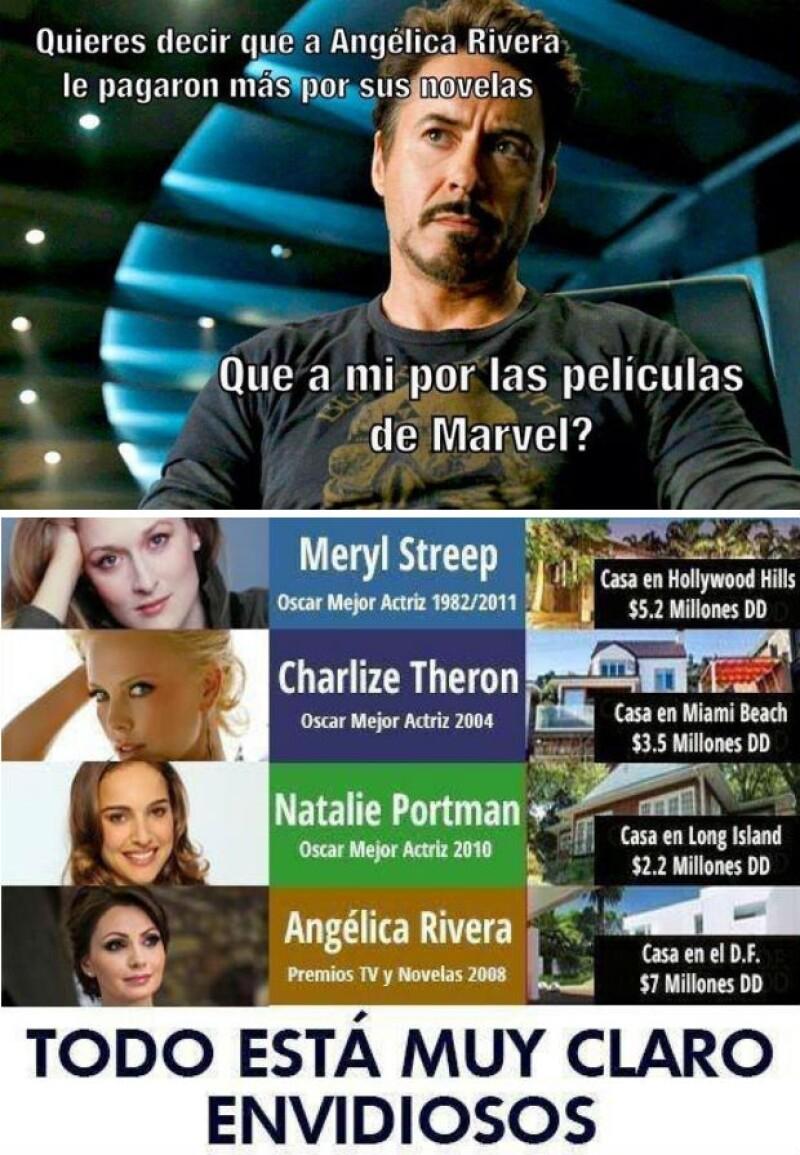 Muchas críticas también comparan los salarios de Hollywood con el que tuvo Angélica Rivera.