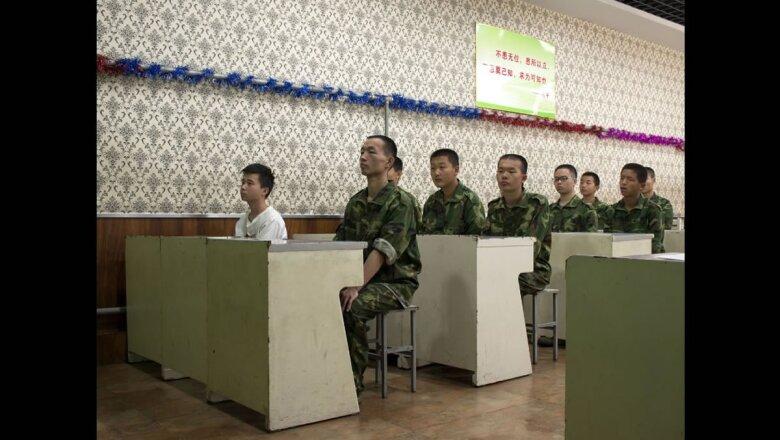 """Las autoridades del centro creen que su método, entrenamiento físico intenso, """"cura"""" la mayoría de las adicciones."""