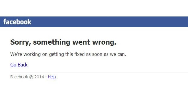Facebook falla error
