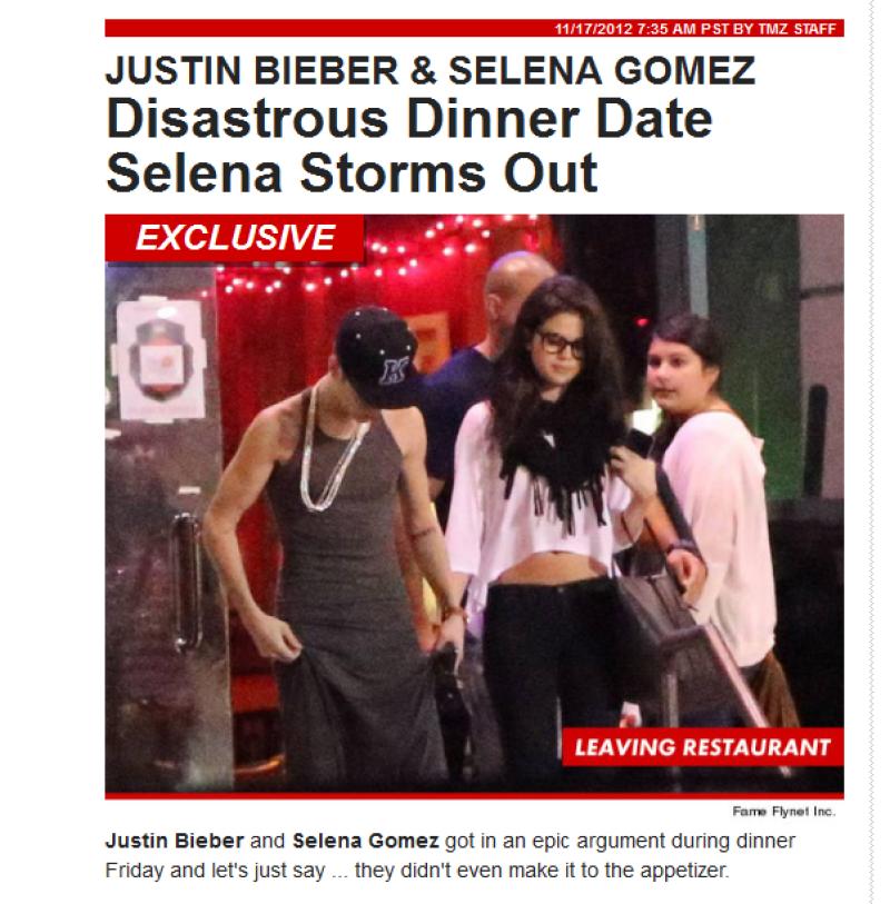 Se dice que Selena salió del lugar enojada.