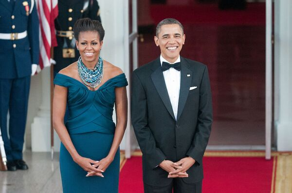 President Barack Obama and First Lady Michelle greet Prime