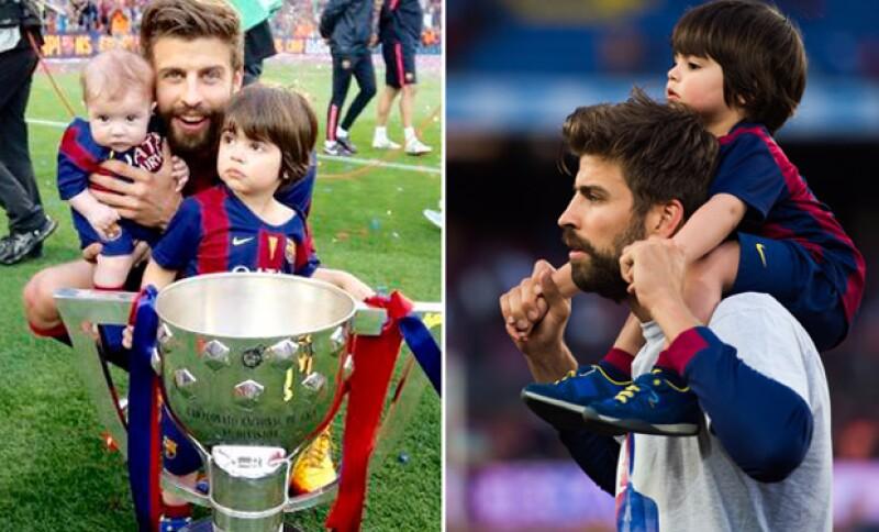 Gerard celebró la victoria de su equipo con dos de sus más grandes amores, sus hijos.