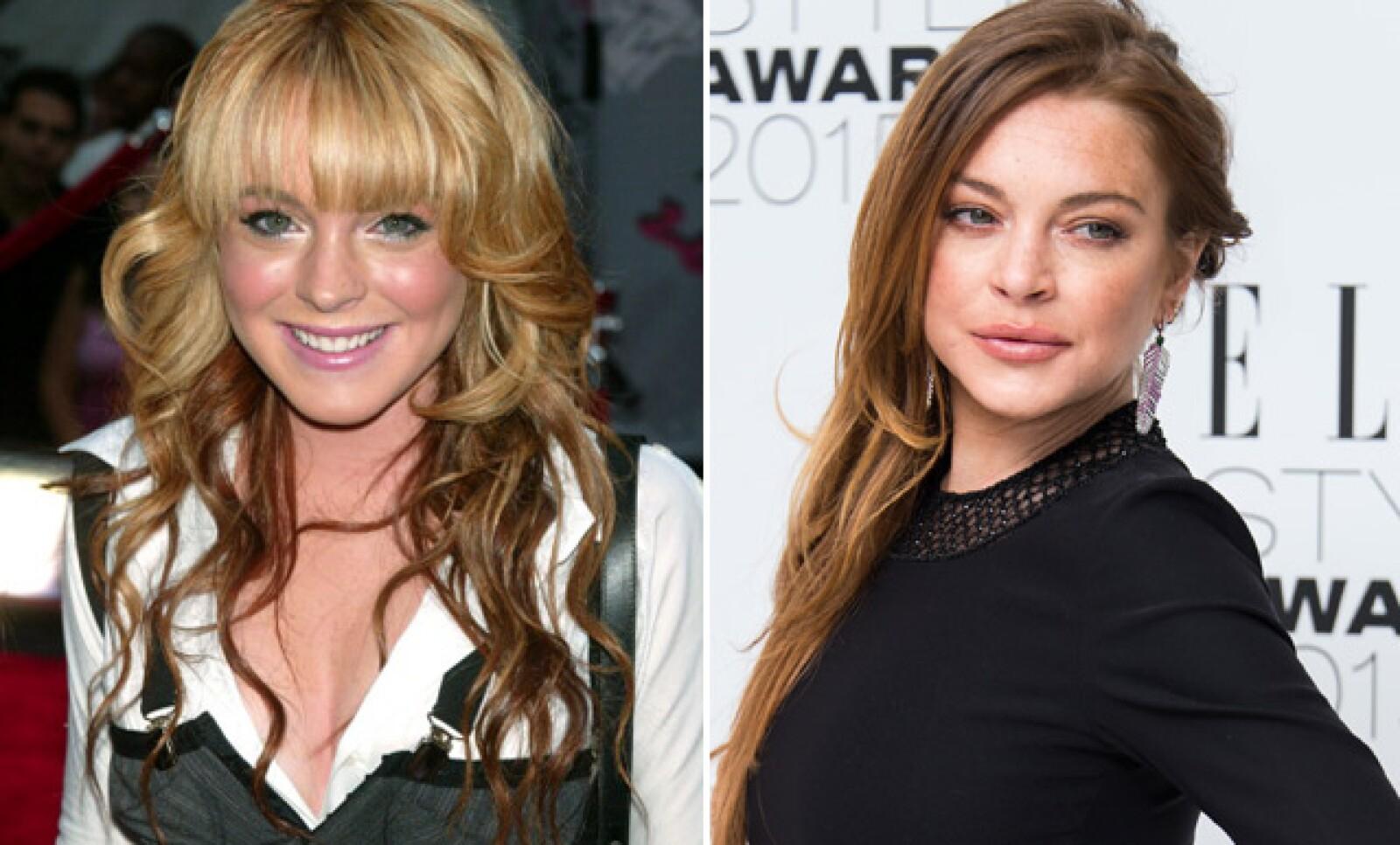 Lindsay Lohan en el 2000 y ahora... después de varias modificaciones estéticas.