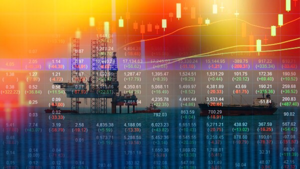 Stock market concept with oil rig in the gulf background,Double exposure,Energy crisis