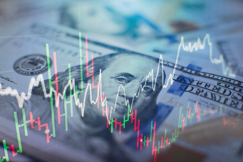 forex trading graph and candlestick chart suitable for financial investment concept. Economy trends background for business idea and all art work design. Abstract finance background.