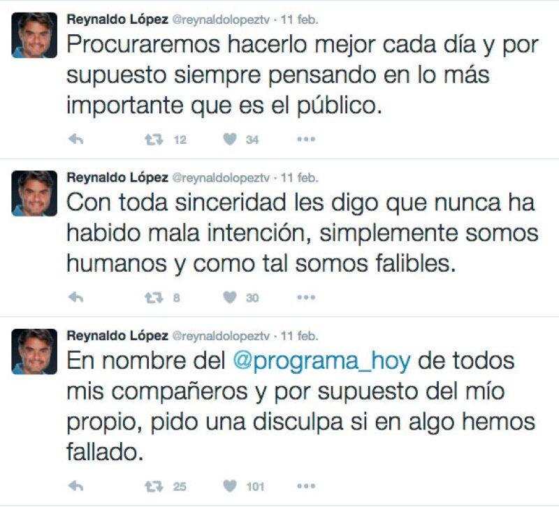 Ante estos tuits Reynaldo fue fuertemente criticado en las redes sociales.