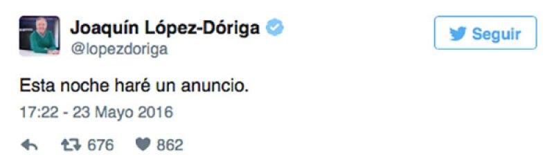 El periodista informó en Twitter que tenía un anuncio qué hacer.