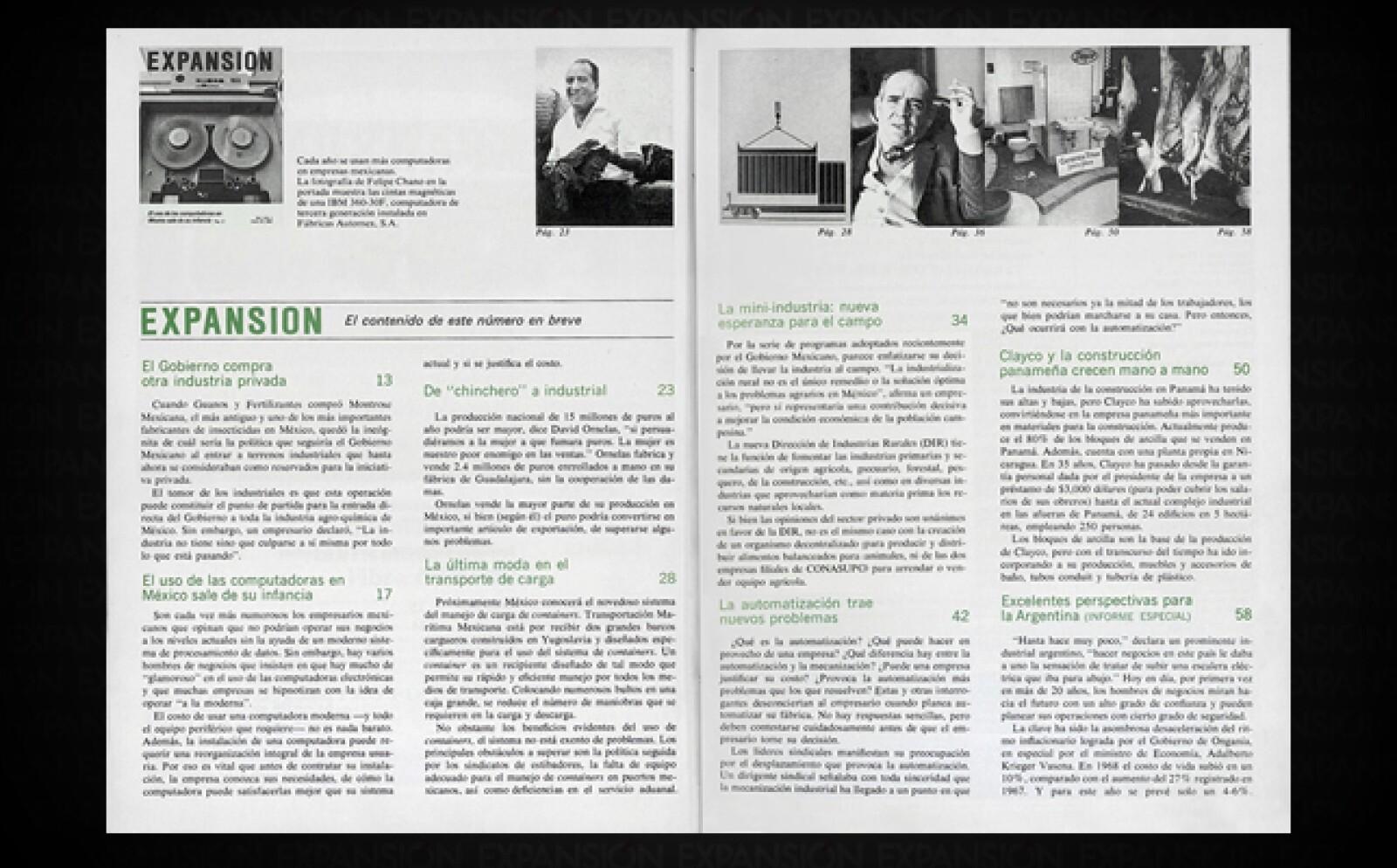 En su primer número, Expansión abordó temas como las nacientes computadoras en los negocios, la intervención del Estado en la industria privada, y el desempeño de la industria en Argentina y Panamá.