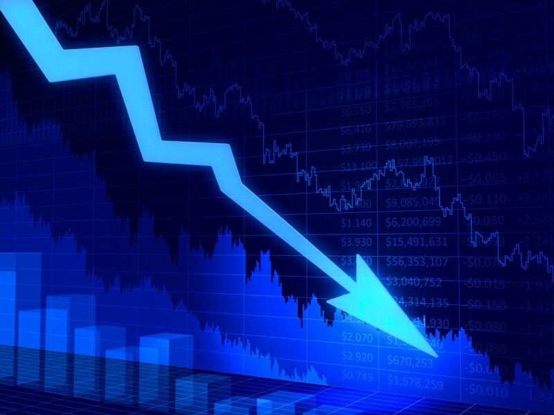Financial crisis chart. 3D abstract diagram with arrow