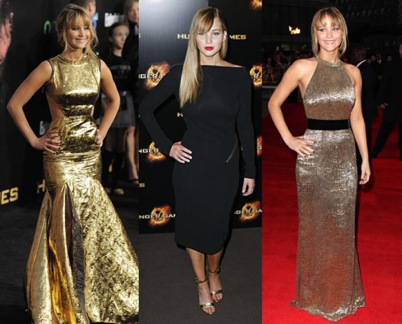 Jennifer en las diferentes premieres de `The Hunger Games´.