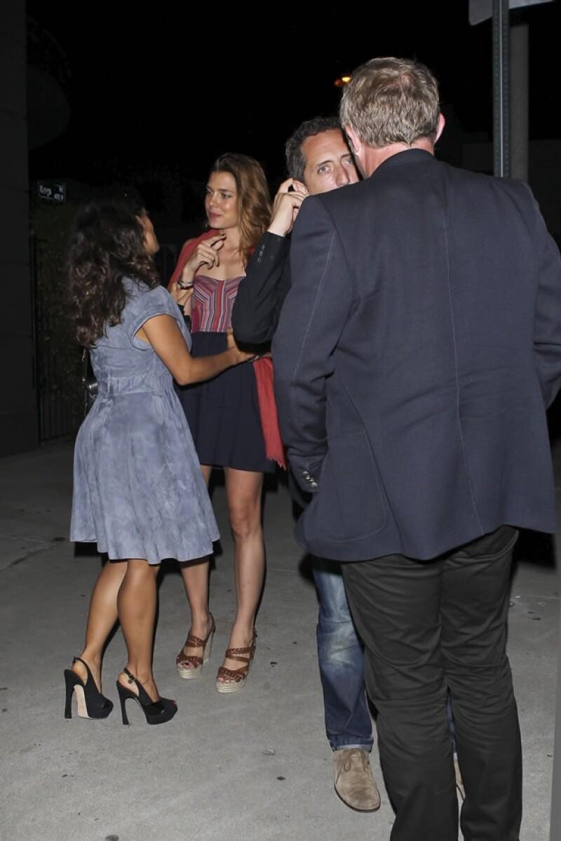 La actriz mexicana y la hija de Carolina de Mónaco disfrutaron de una cena en compañía de sus parejas en un restaurante de Los Ángeles.