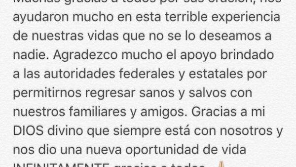 Tras ser privado de su libertad, el futbolista de 25 años publicó un tuit donde agradece a la gente por el apoyo recibido.