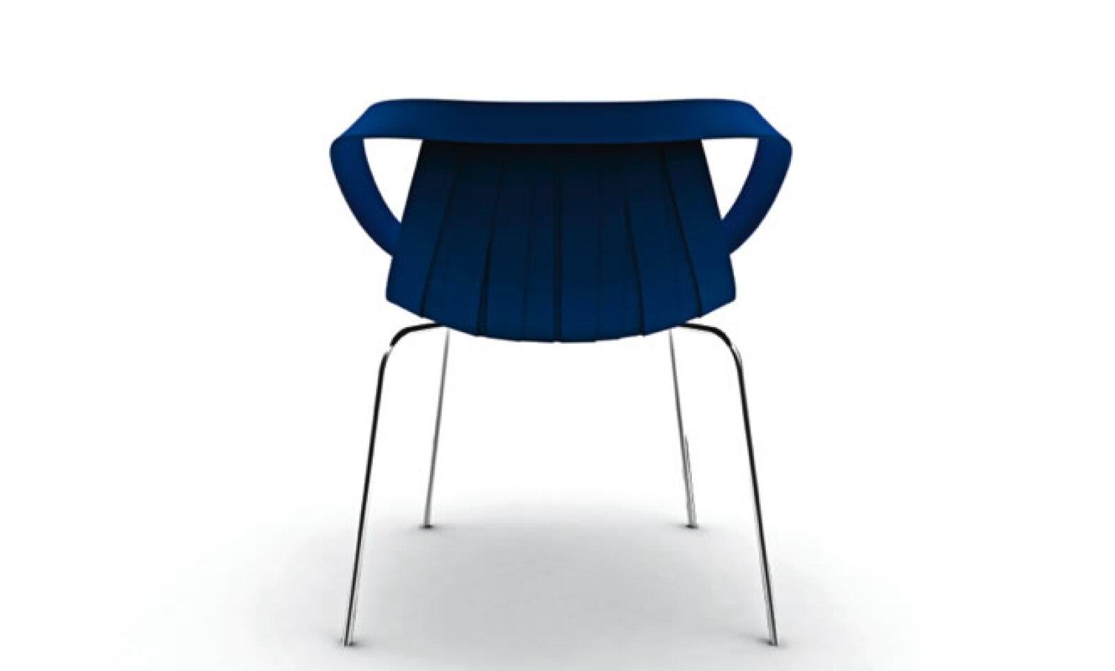 Moroso fabricó esta silla mediante moldeo por inyección. Su diseño hace referencia alas sillas elegantes.