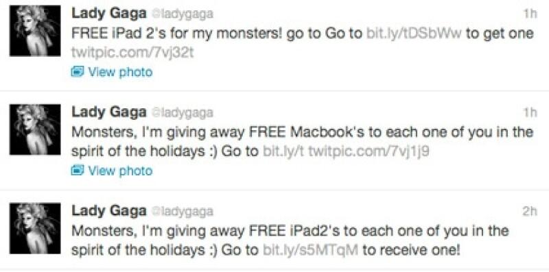En el Twitter de Lady Gaga seguía apareciendo la misma leyenda.