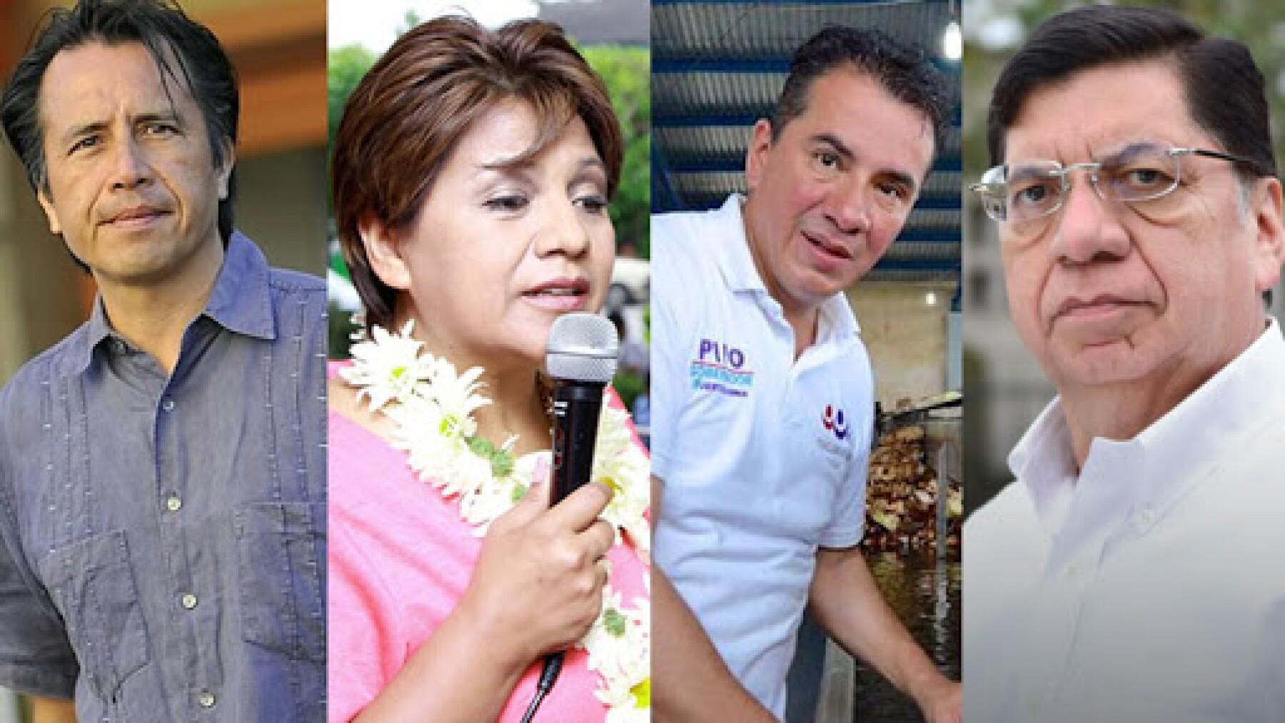 """Los abanderados de Morena, Cuitláhuac García, PT, Alba Méndez; Víctor """"Pipo"""" Vázquez, del PES, y Armando Méndez de MC no dieron información sobre compromisos."""