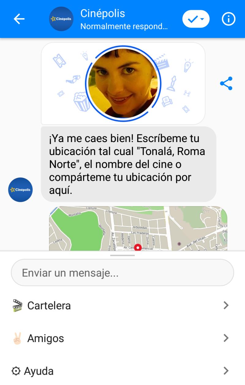 El chatbot actual te presenta varias opciones para comprar tus boletos directamente en Facebook Messenger